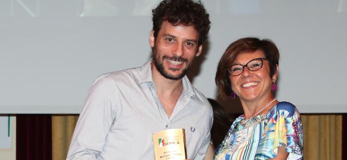 Il presidente Aiello con il presidente della Lega Volley Paola De Micheli.