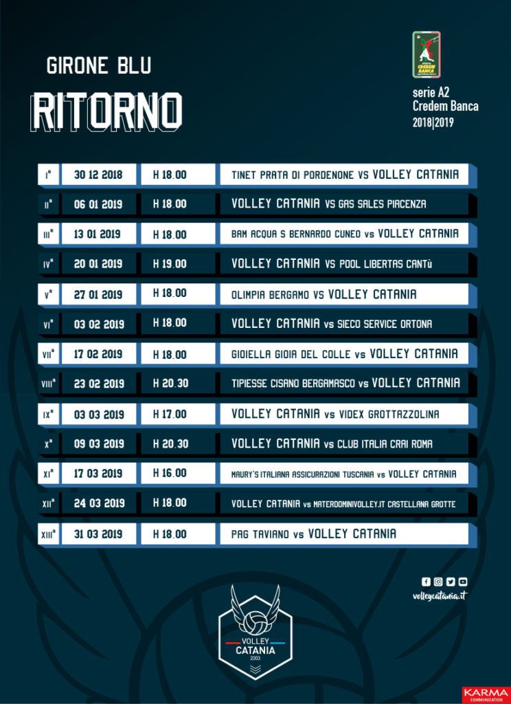 Calendario Volley Maschile.Calendario Volley Cataniavolley Catania
